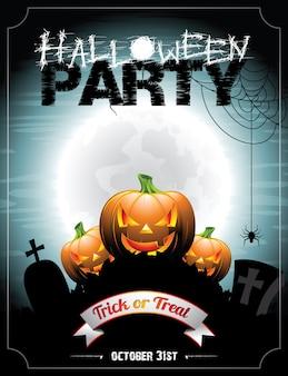 Ilustración en un tema de halloween con pumkins.