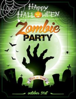 Ilustración en un tema de halloween zombie party themeon fondo verde.