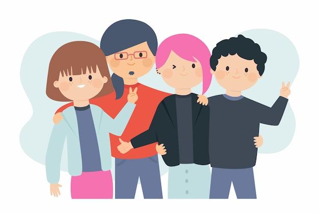Ilustración con tema de jóvenes