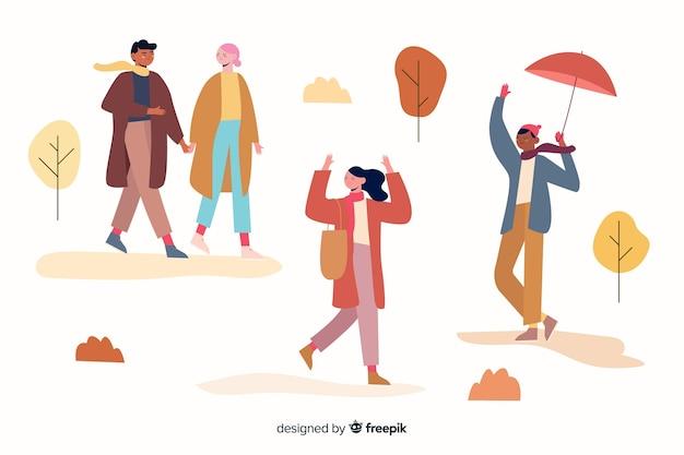 Ilustración con tema de otoño y ropa