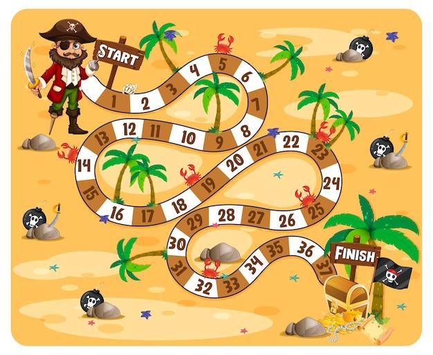 Ilustración de tema pirata de juego de mesa de ruta