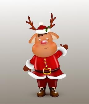 Ilustración de temática navideña. reno de navidad. ciervo de carácter lindo y divertido.