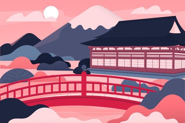Ilustración de templo de arquitectura japonesa degradado