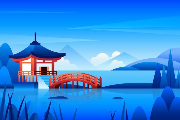 Ilustración de templo japonés degradado