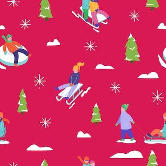 Ilustración de temporada de invierno fondo con patinaje de trineo familiar de carácter de personas vacaciones de navidad y año nuevo de patrones sin fisuras para el diseño, papel de regalo, invitación, tarjeta de felicitación, cartel.