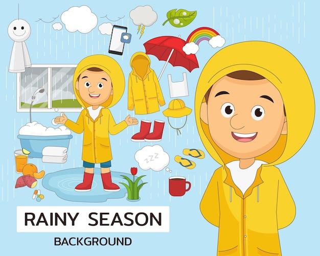 Ilustración de la temporada de lluvias
