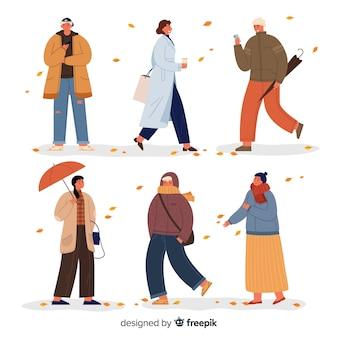 Ilustración con la temporada de ropa de otoño