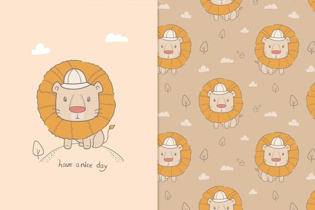 Ilustración tenga un buen día león de patrones sin fisuras