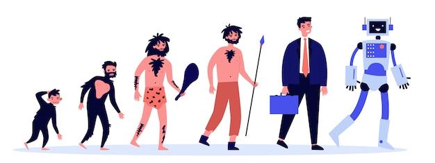 Ilustración de la teoría de la evolución humana