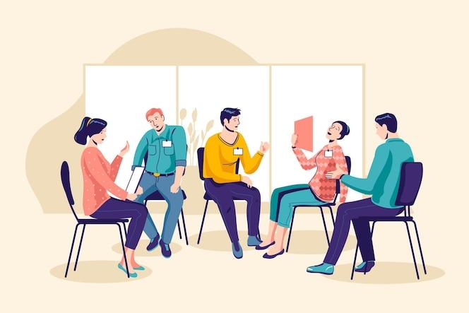 Ilustración de terapia de grupo