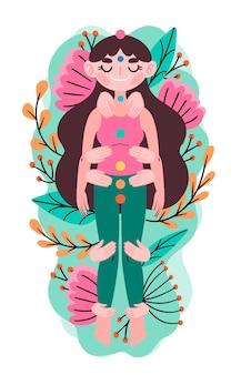 Ilustración de terapia de reiki con mujer y flores.