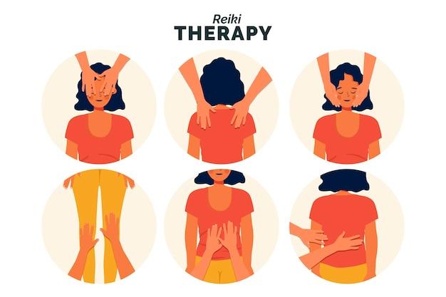 Ilustración de la terapia de reiki