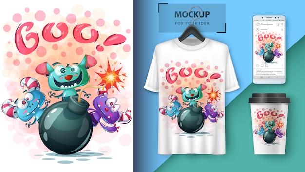 Ilustración de terror de halloween para camiseta y merchandising