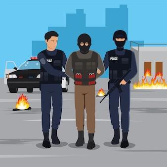Ilustración de un terrorista arrestado por la policía