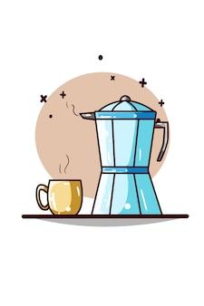 Una ilustración de teteras y taza de café
