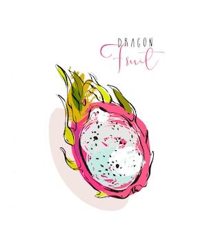 Ilustración con textura a mano alzada con exóticas frutas tropicales del dragón o pitaya aislado sobre fondo blanco.
