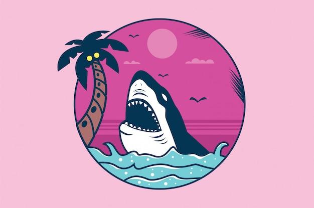 Ilustración de tiburón para camiseta y otros usos.