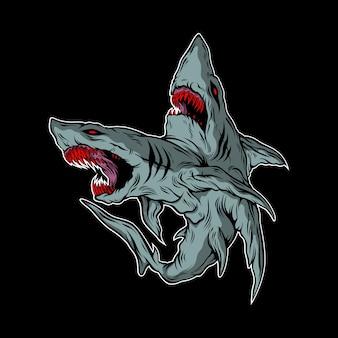 Ilustración de tiburón monstruo