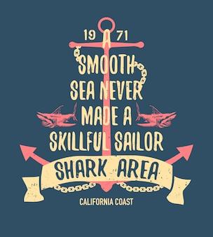 Ilustración de tiburón peligroso con error tipográfico