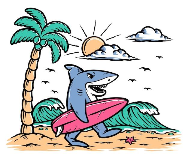 Ilustración de tiburón surfista