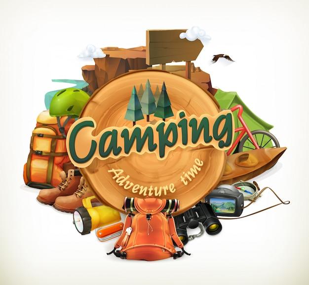 Ilustración de tiempo de aventura en camping