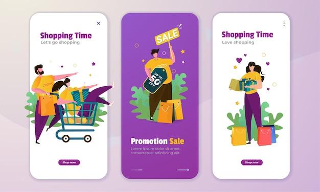 Ilustración de tiempo de compras en el concepto de pantalla a bordo