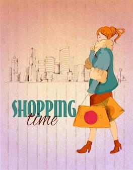 Ilustración de tiempo de compras con mujer