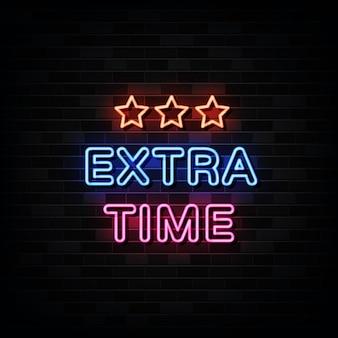 Ilustración de tiempo extra, letrero de neón