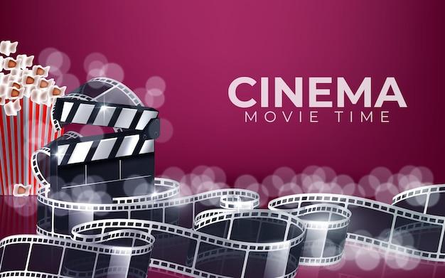 Ilustración de tiempo de película de cine con palomitas de maíz, cinta de vídeo y claqueta.