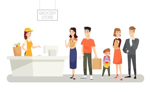 Ilustración de la tienda de abarrotes personas esperando en una larga cola productos comprando alimentos compras