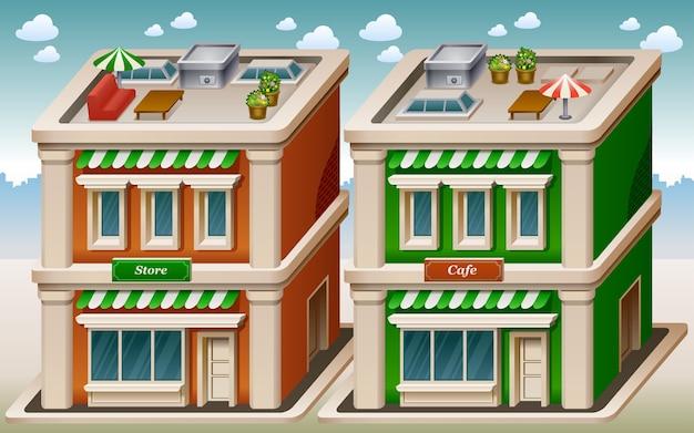 Ilustración de la tienda y la cafetería