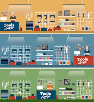 Ilustración de la tienda de herramientas con instrumentos