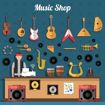 Ilustración de la tienda de música