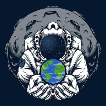 Ilustración de tierra segura de astronauta