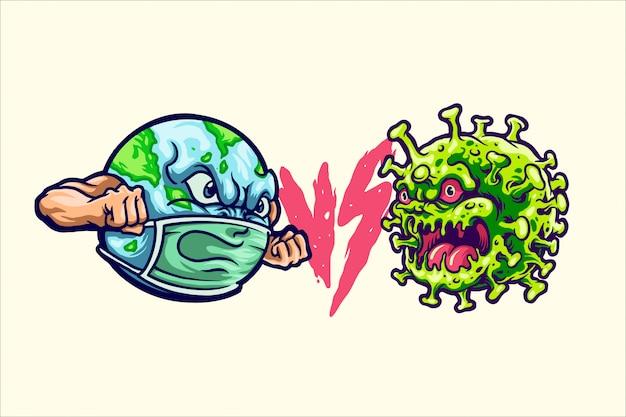 Ilustración tierra vs corona