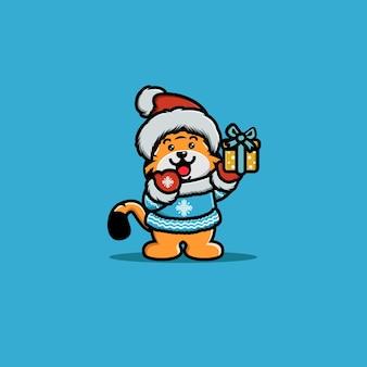Ilustración de tigre de carácter animal con caja de regalo