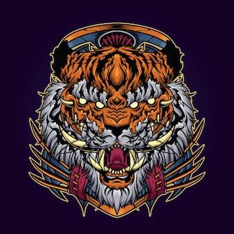 Ilustración de tigre de cuerno