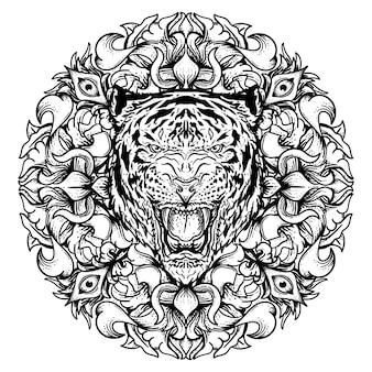 Ilustración de tigre dibujado a mano en blanco y negro con círculo grabado ornamento premium