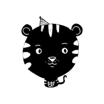 Ilustración de tigre de doodle negro con cabeza grande y una gorra de cumpleaños sobre fondo blanco