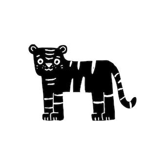 Ilustración de tigre doodle negro sobre fondo blanco
