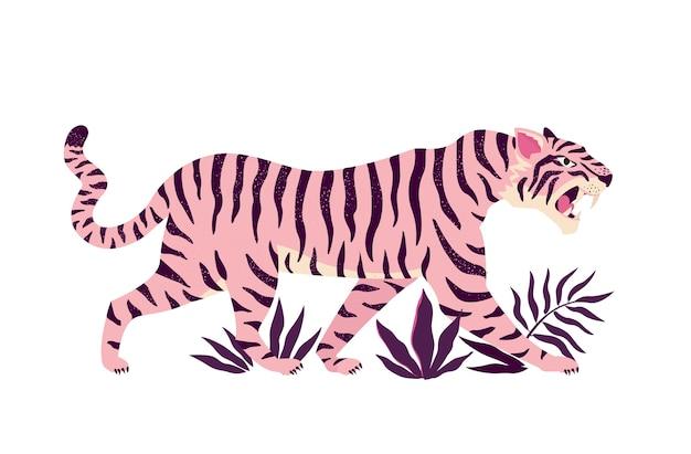 Ilustración de tigre y hojas tropicales