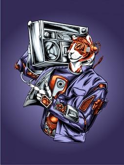 Ilustración de tigre mc hip hop