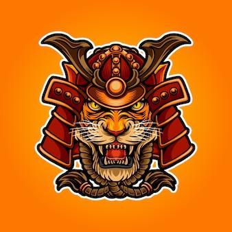 Ilustración de tigre samurai
