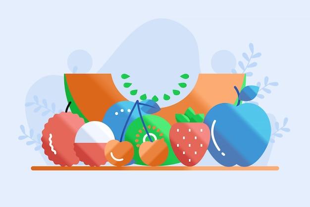 Ilustración de tipo de frutas