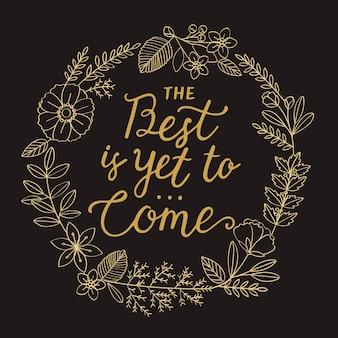 Ilustración de tipografía de año nuevo de corona de flor