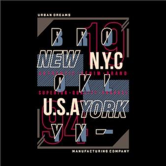 Ilustración de tipografía gráfica de la ciudad de nueva york de brooklyn para camiseta estampada