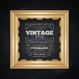 Ilustración de tipografía marco vintage