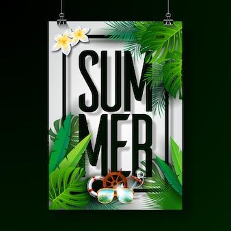 Ilustración tipográfica de vacaciones de verano sobre fondo blanco.