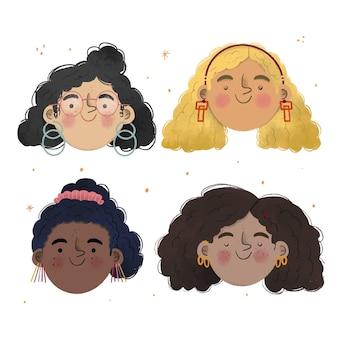 Ilustración de tipos de cabello rizado dibujado a mano