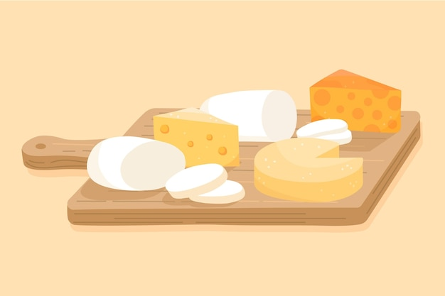 Ilustración de tipos de queso sobre tabla de madera
